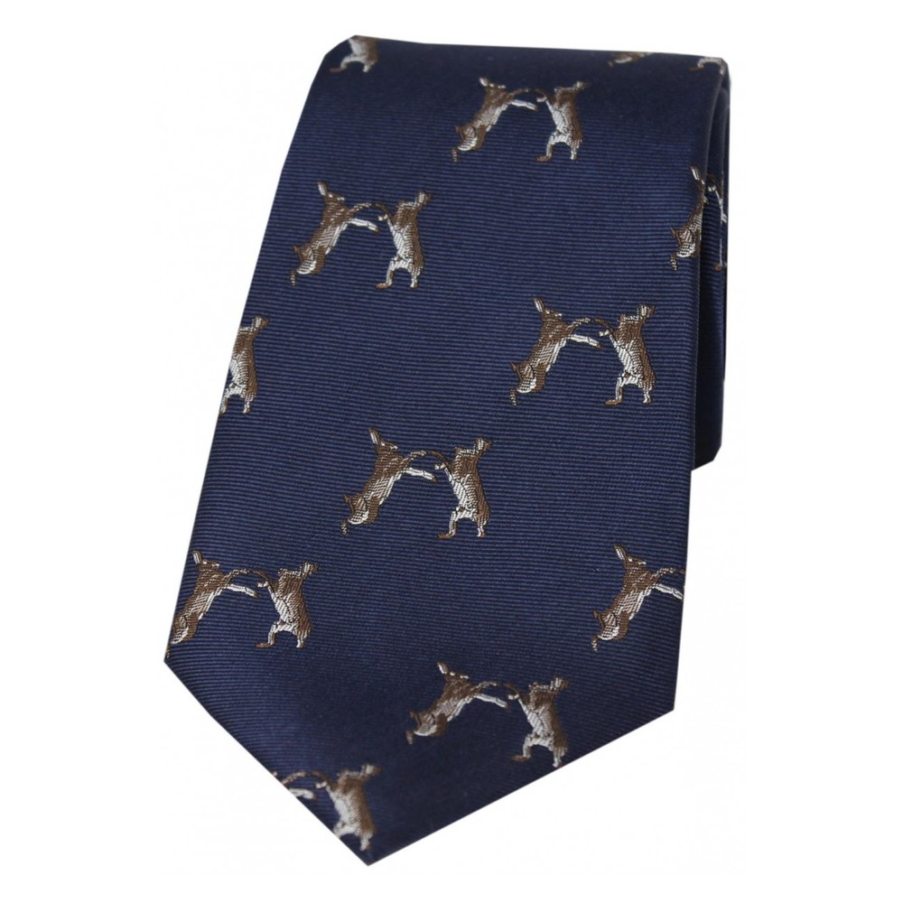 Allcocks Country Silk Tie - Woven Boxing Hares Navy