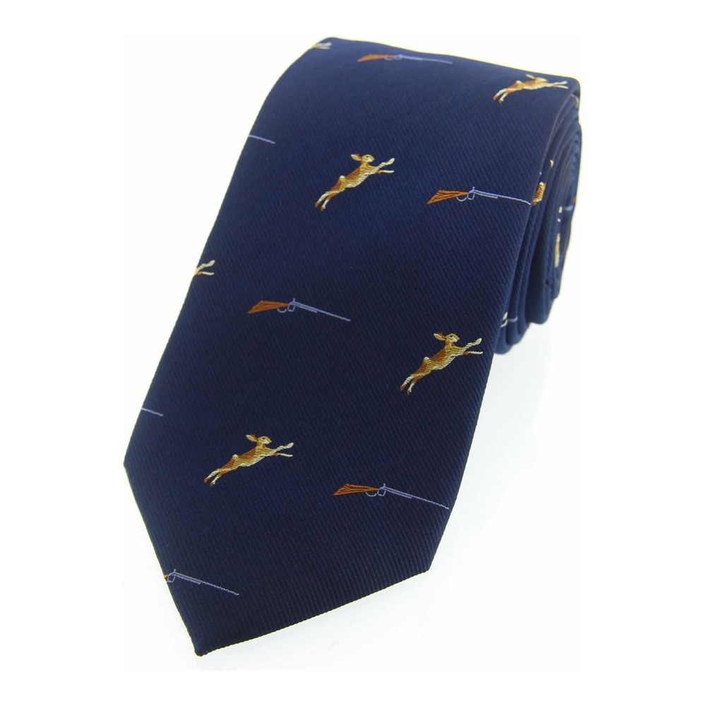 Allcocks Country Silk Tie - Hares & Shotgun Navy