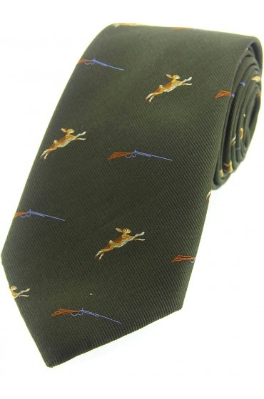 Allcocks Country Silk Tie - Hares & Shotgun
