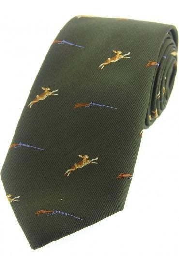 Allcocks Country Silk Tie - Hares & Shotgun Country Green