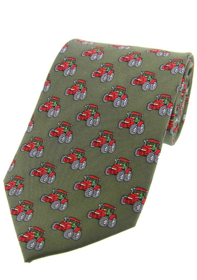 Allcocks Country Silk Tie - Red Tractor Country Green