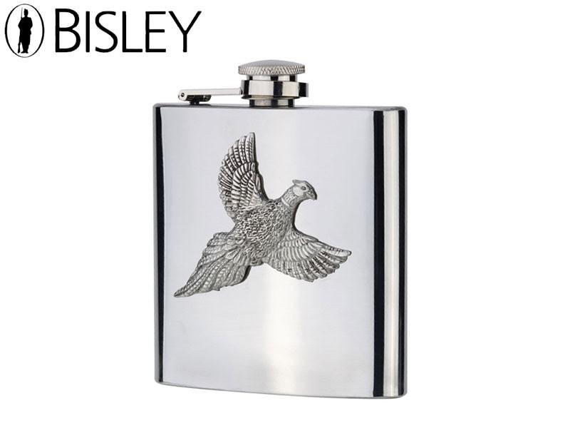 Bisley Hip Flask 6oz - Pewter Pheasant