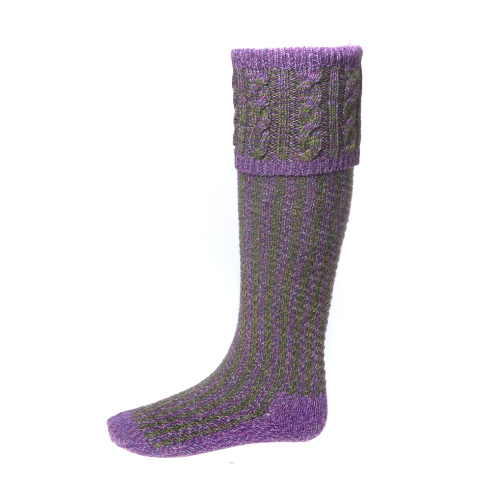 House of Cheviot Reiver Sock with Garters - Heather