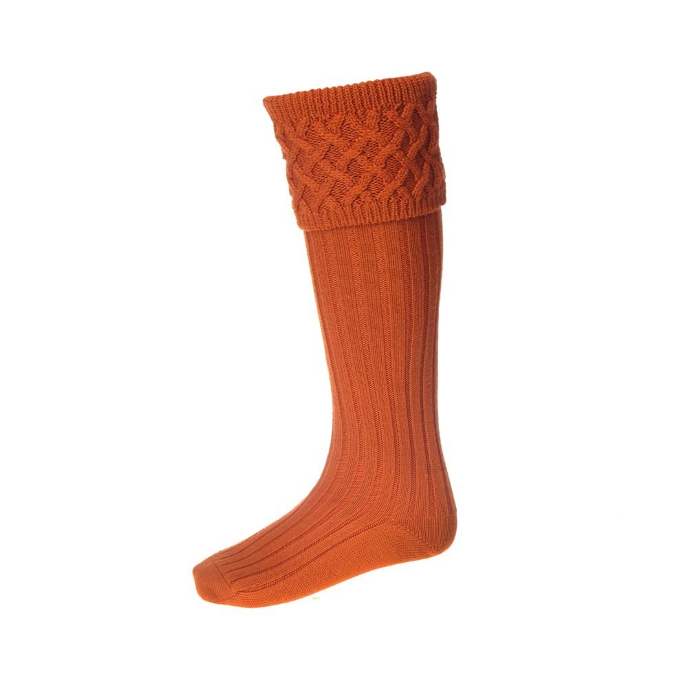 House of Cheviot Rannoch Sock with Garters - Burnt Orange