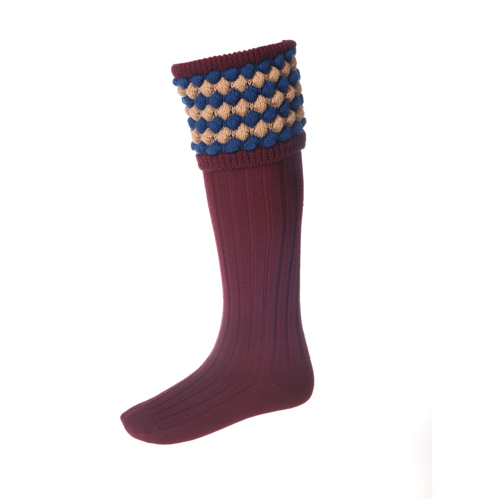 House of Cheviot Angus Sock with Garters - Burgundy Burgundy