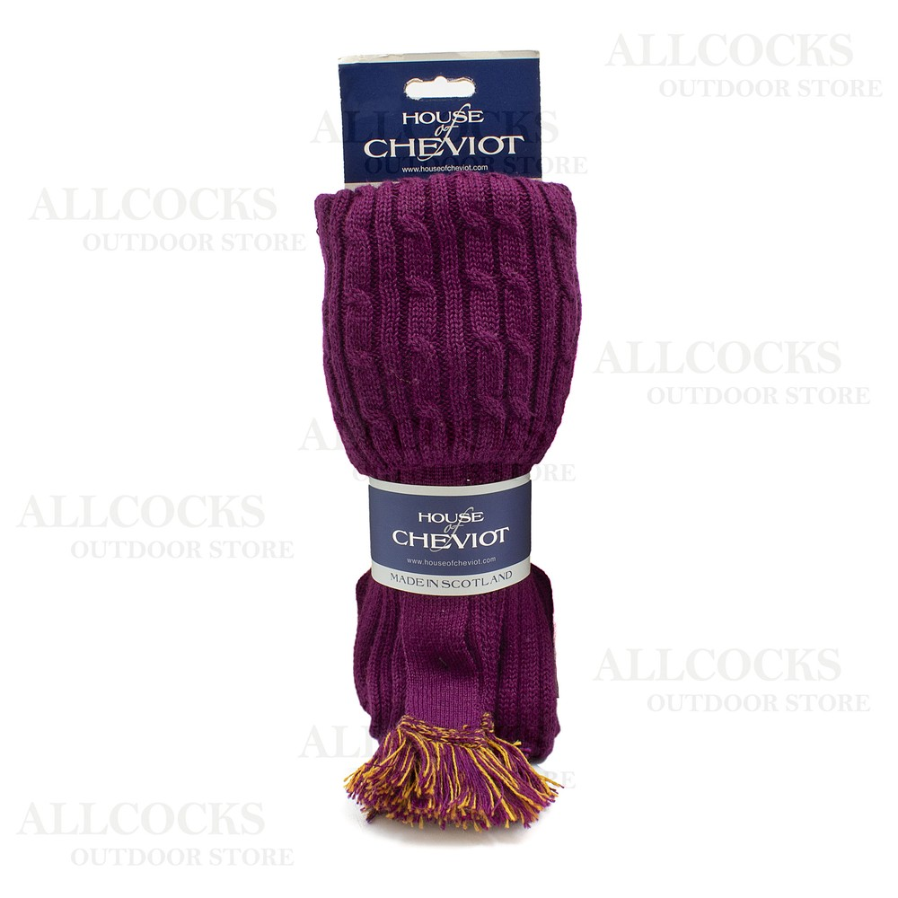 House of Cheviot House Of Cheviot Harris Sock with Garters - Bilberry - XL Bilberry