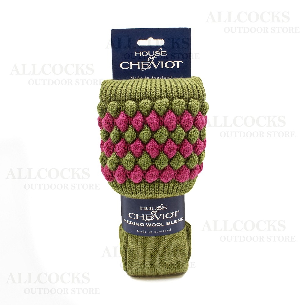 House of Cheviot Lady Angus Sock -  Moss/Pink Moss/Pink