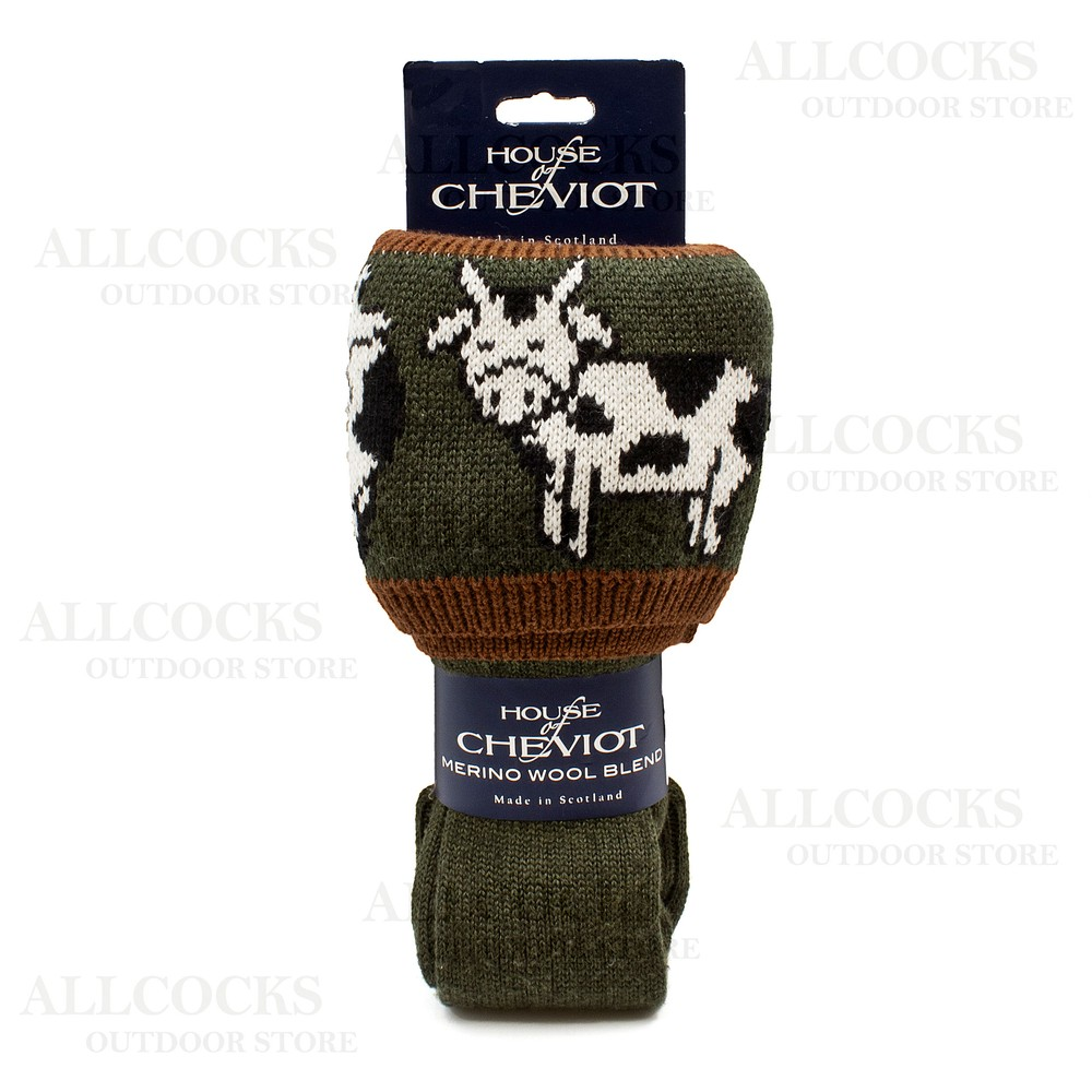 House of Cheviot Ladies Daisy Cow Sock - Spruce - Medium Spruce