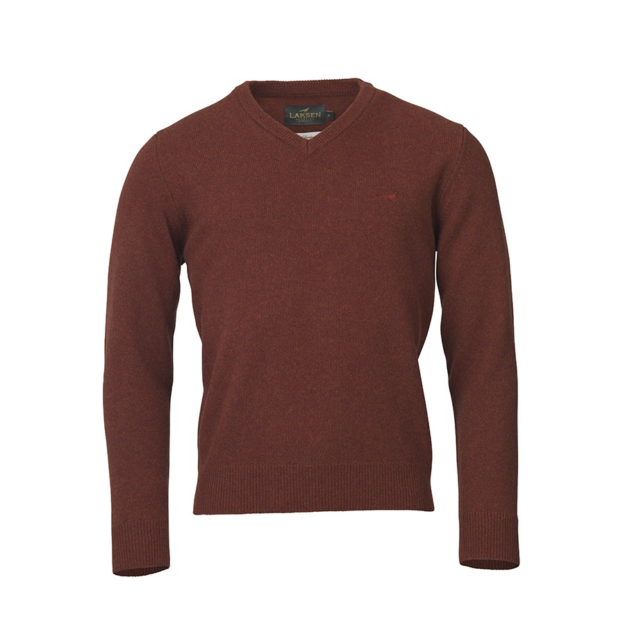 Laksen Johnston Lambswool V-Neck - Rusty Rust