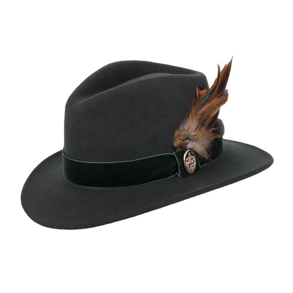 Hicks & Brown Chelsworth Fedora Hat Olive Green