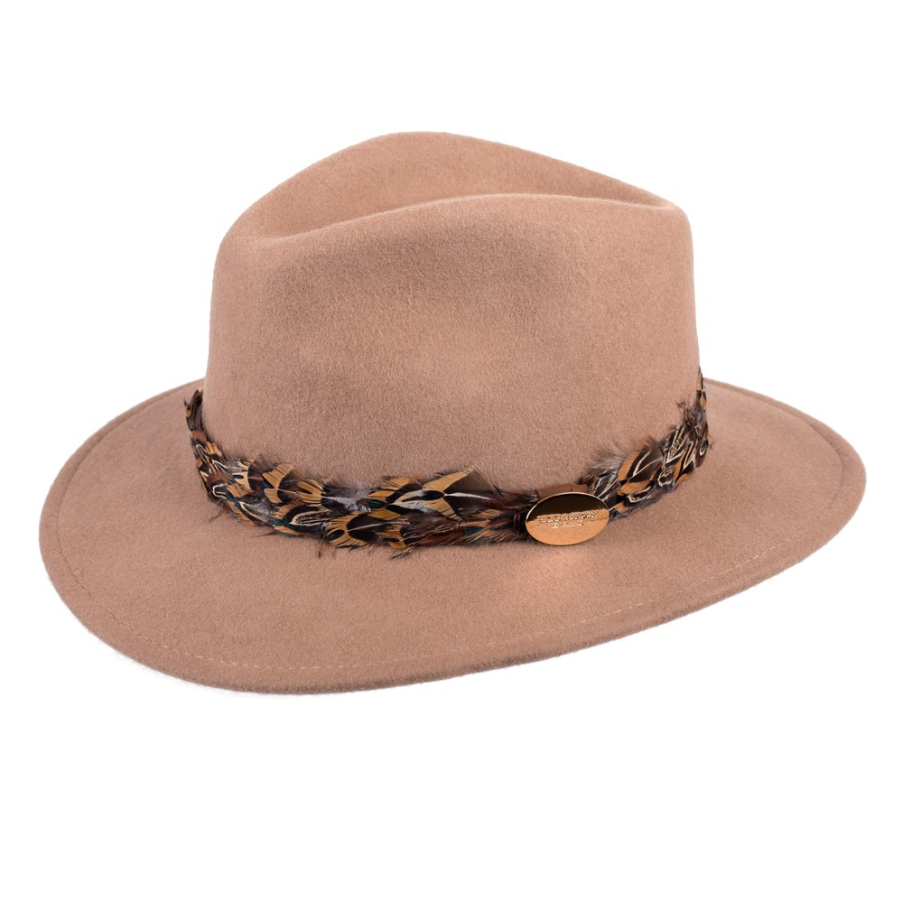 Hicks & Brown Suffolk Fedora Hat - Pheasant Feather Wrap Camel