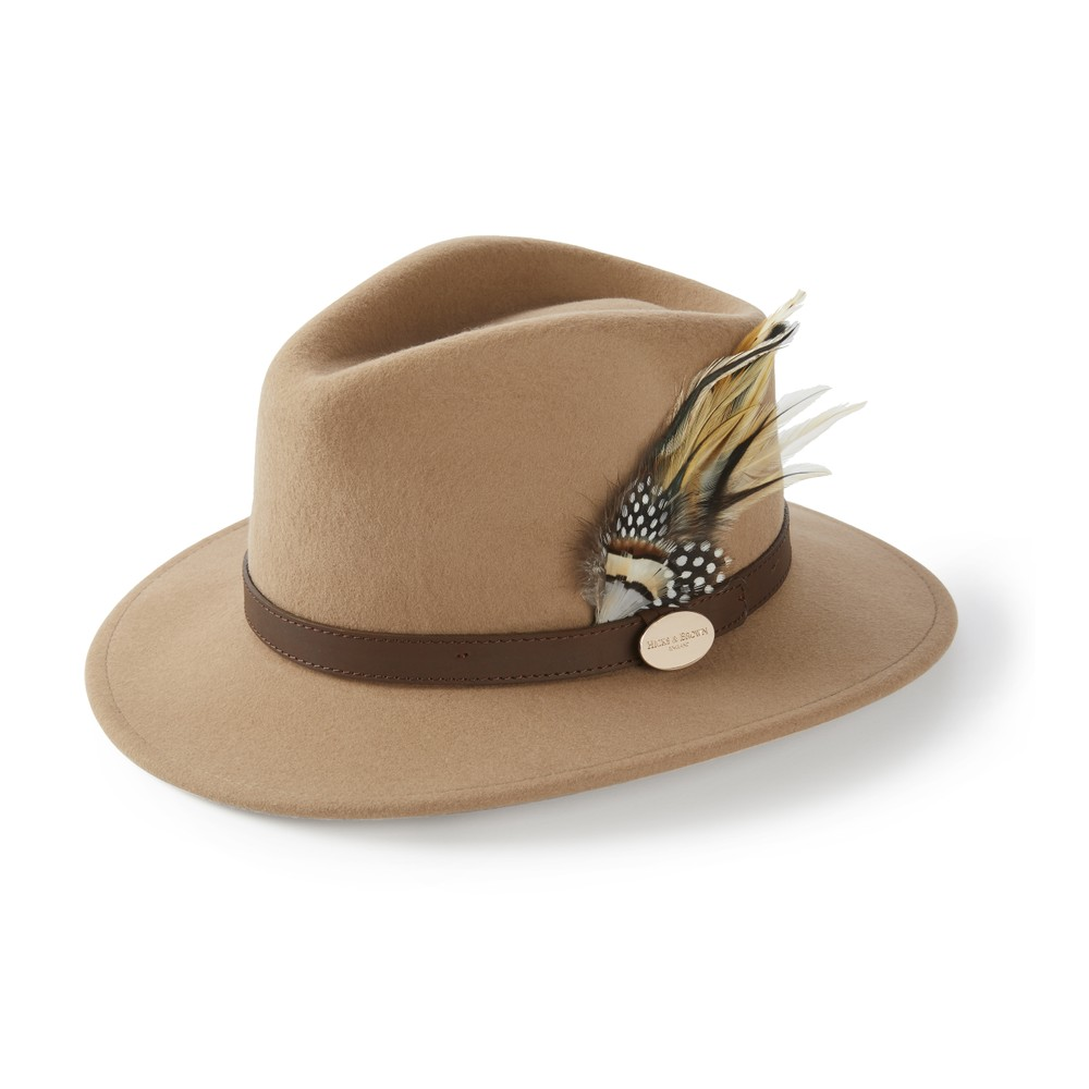 Hicks & Brown Suffolk Fedora Hat - Guinea and Pheasant Feather Camel