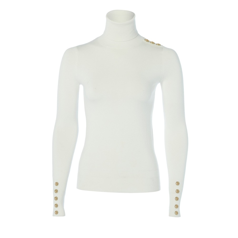 Holland Cooper Buttoned Roll Neck Knit Cream