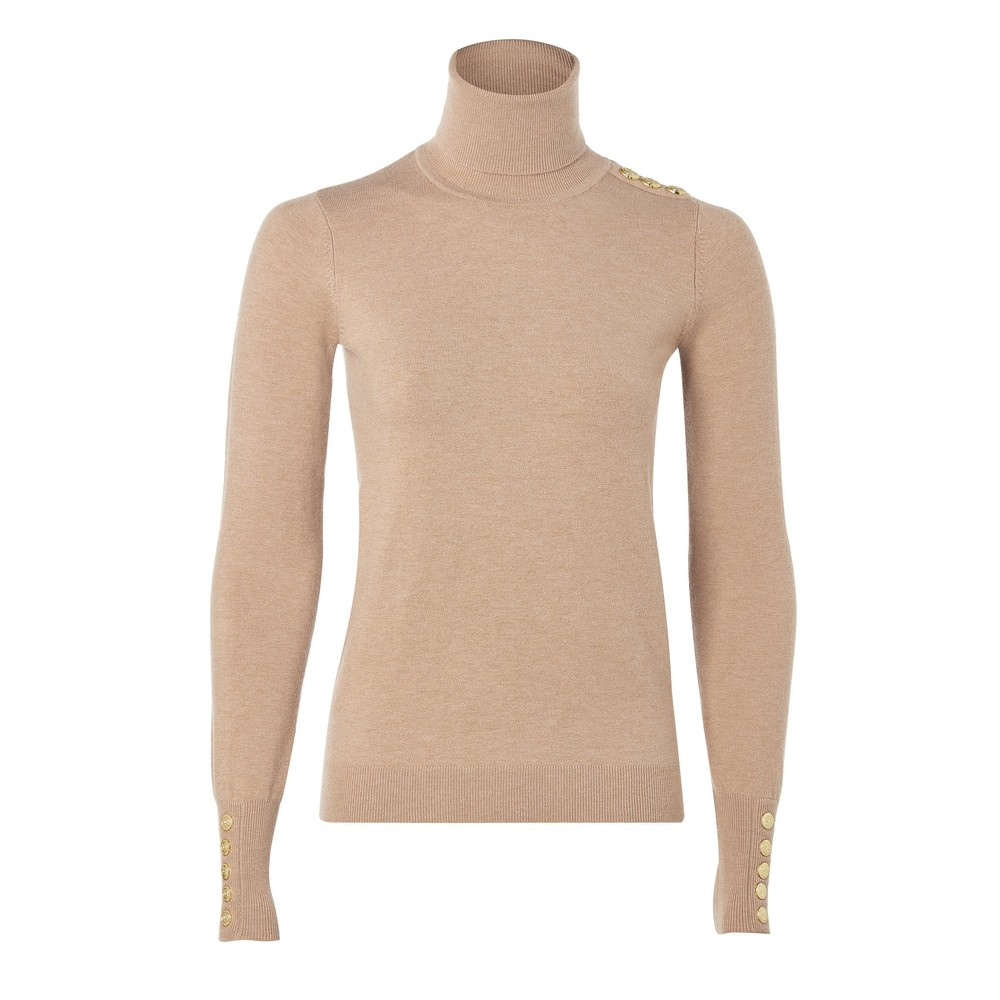 Holland Cooper Buttoned Roll Neck Knit Dark Camel