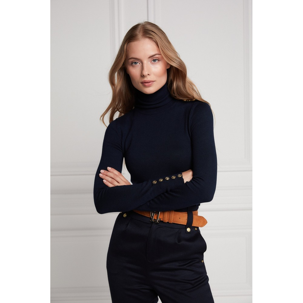 Holland Cooper Buttoned Roll Neck Knit Ink Navy