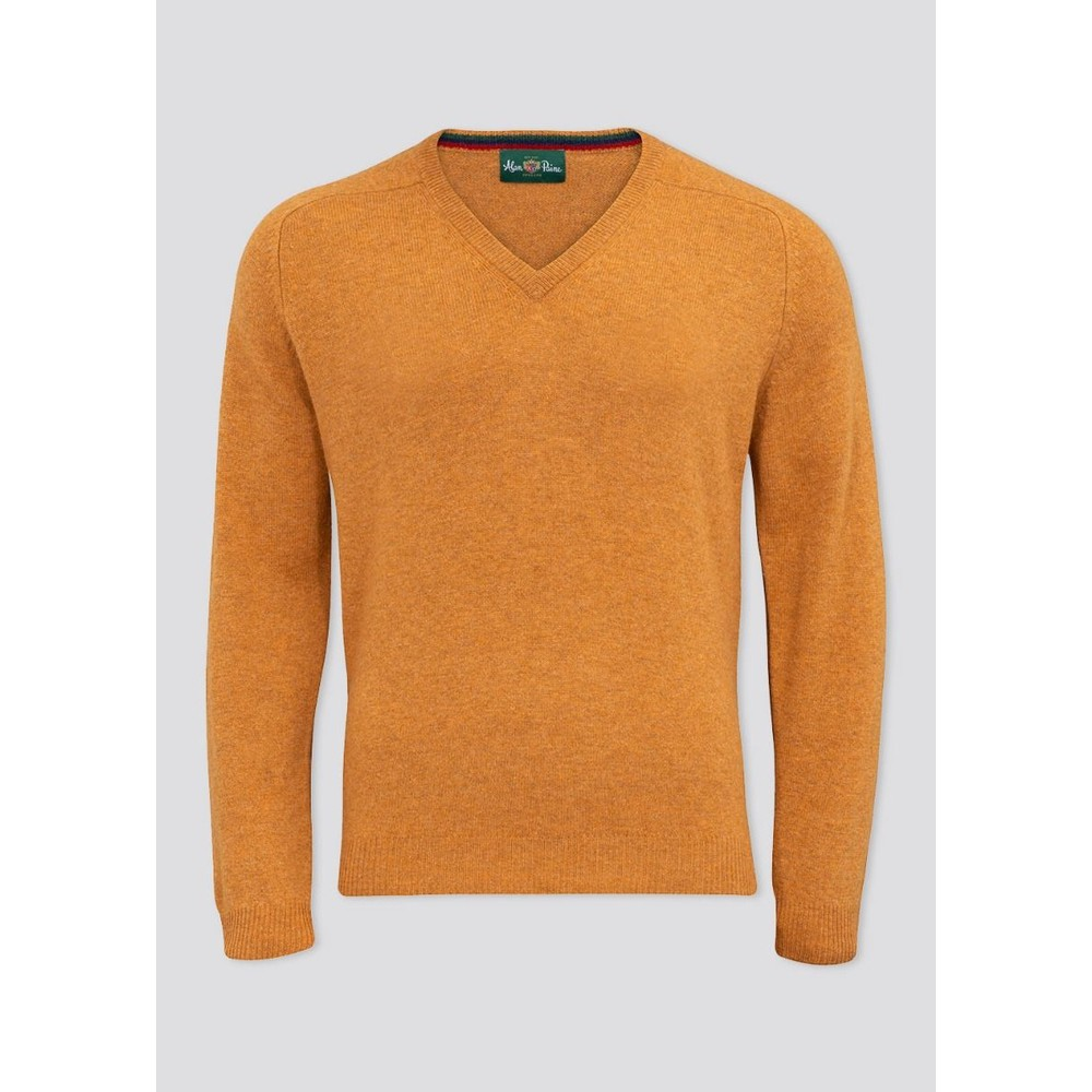 Alan Paine Streetly Lamswool V-Neck Classic Fit Gazelle