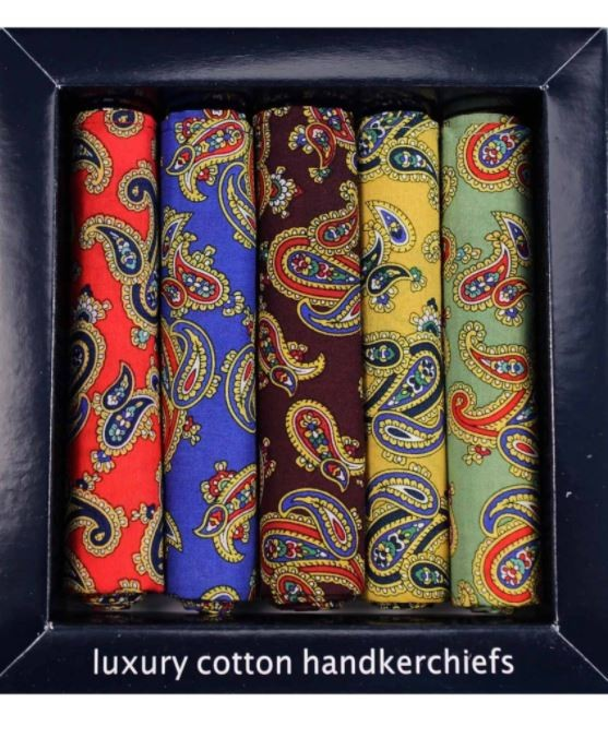 Allcocks Country Cotton Hankies - Box of 5 - Paisley Multi
