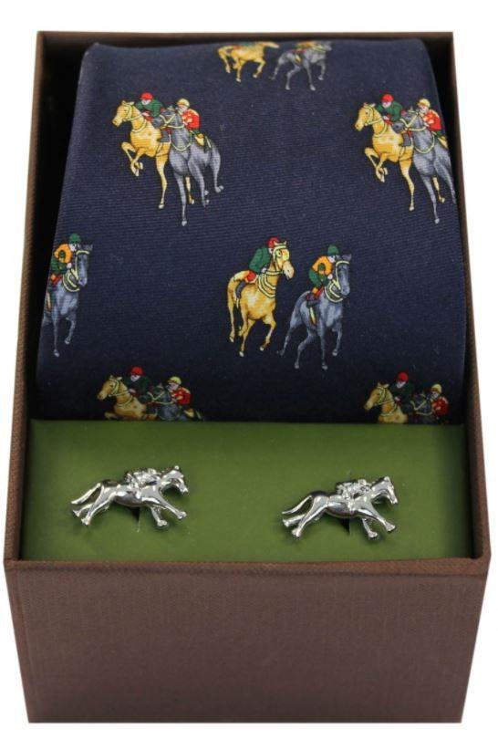 Allcocks Country Horse Racing Tie & Cufflink Set - Navy