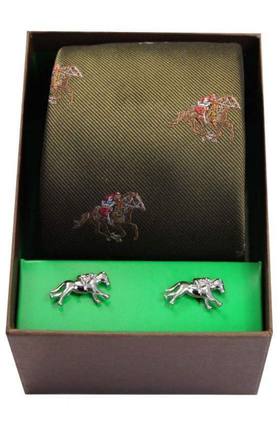 Allcocks Country Horse Racing Woven Tie & Cufflink Set