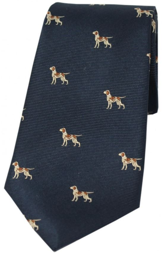 Allcocks Country Silk Tie - Pointer Navy