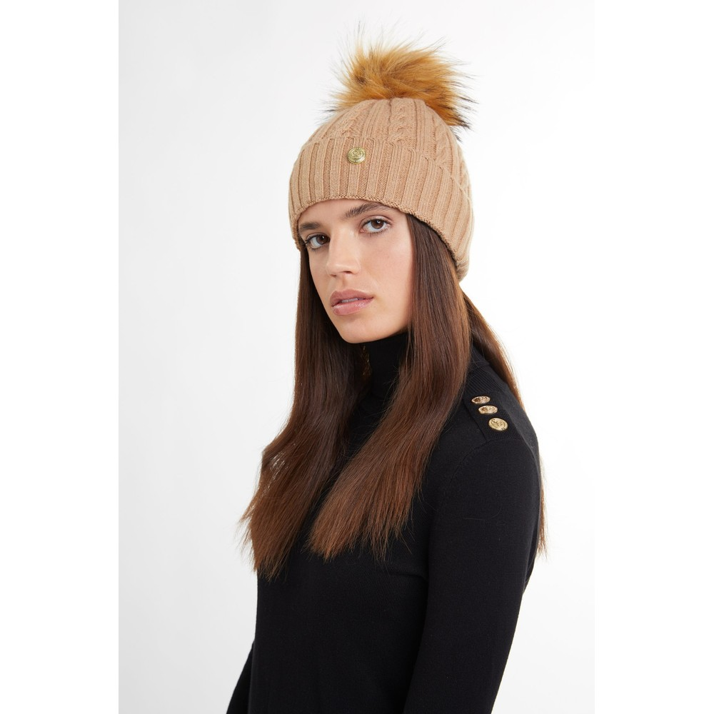 Holland Cooper Cashmere Cable Knit Bobble Hat Camel