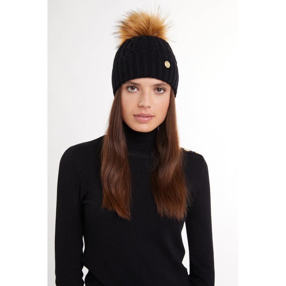 Holland Cooper Holland Cooper Cashmere Cable Knit Bobble Hat