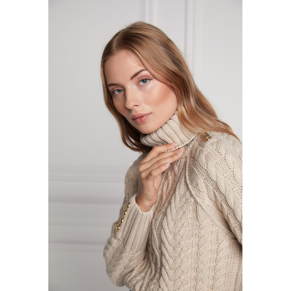 Holland Cooper Greenwich Chunky Cable Knit Oatmeal