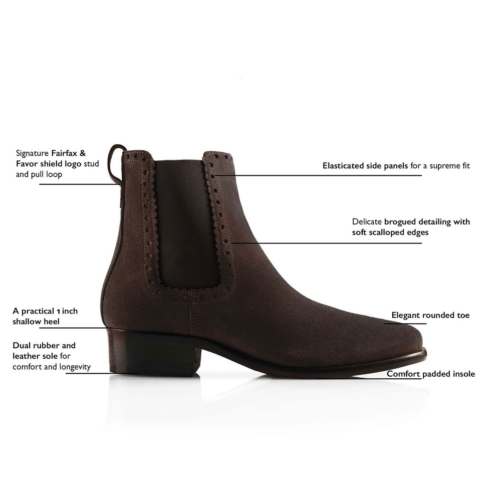 Fairfax & Favor Brogued Chelsea Ladies Boot Chocolate