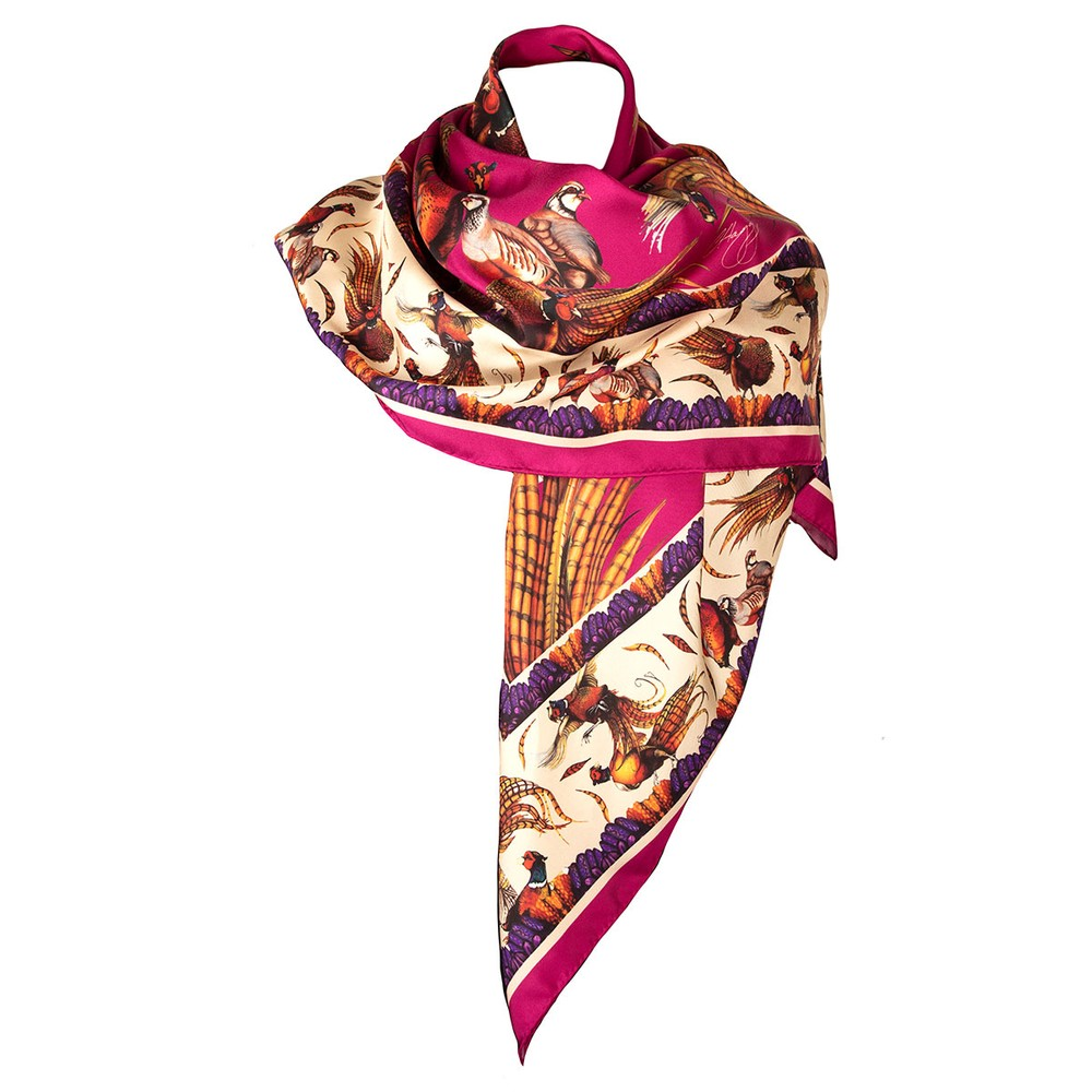 Clare Haggas George & Friends Large Silk Scarf Magenta