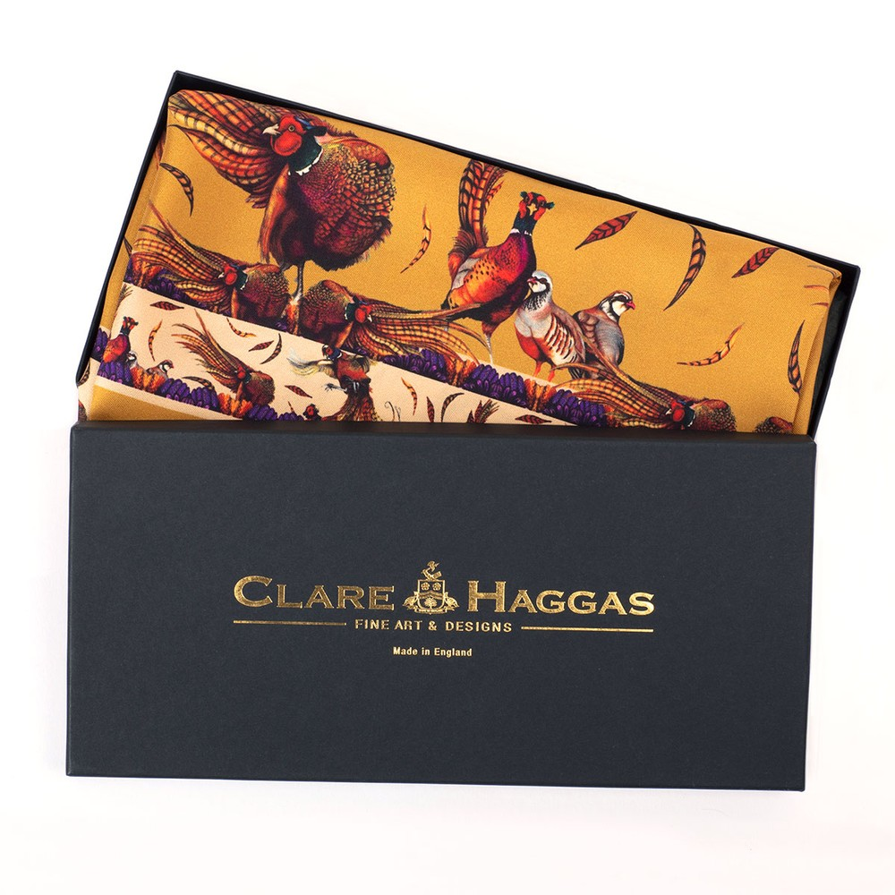 Clare Haggas George & Friends Classic Silk Scarf Gold
