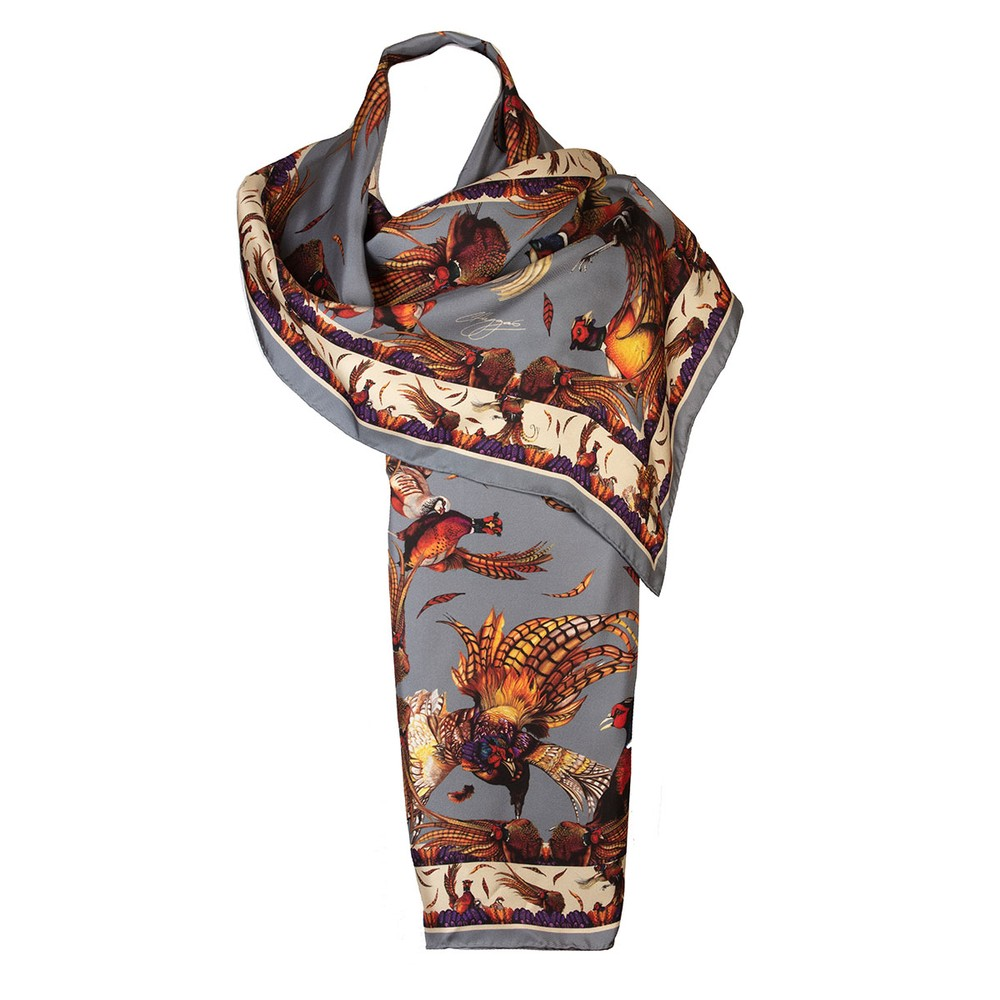 Clare Haggas George & Friends Classic Silk Scarf Pigeon