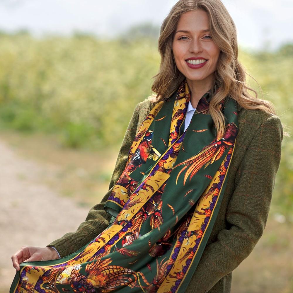 Clare Haggas George & Friends Classic Silk Scarf Khaki