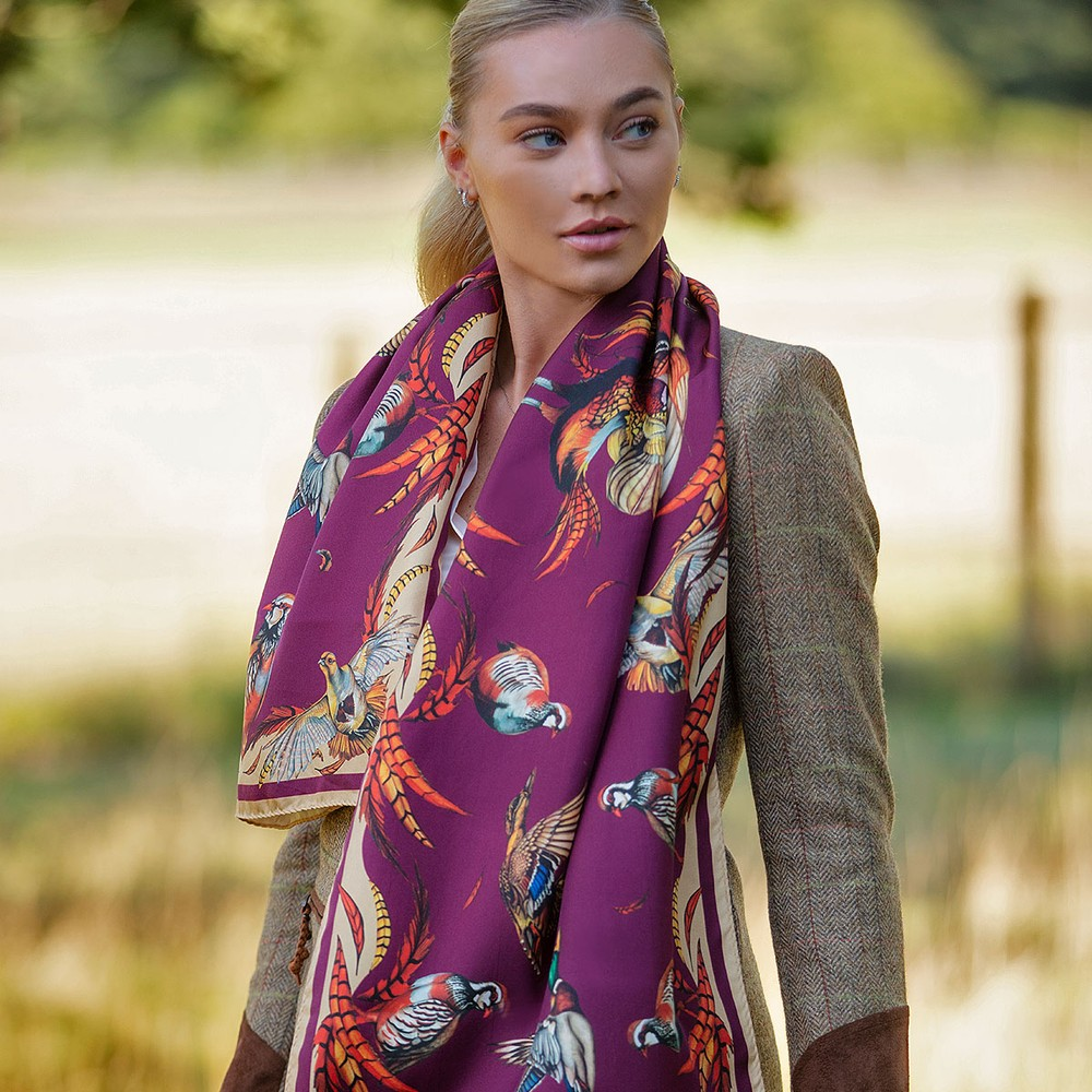 Clare Haggas Best in Show Classic Scarf Mulberry & Gold