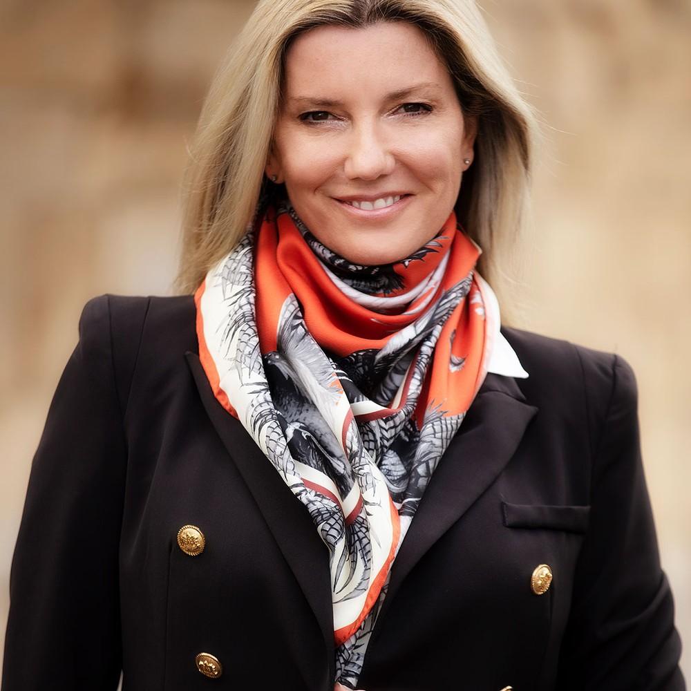 Clare Haggas Turf War Signature Large Silk Scarf Russet
