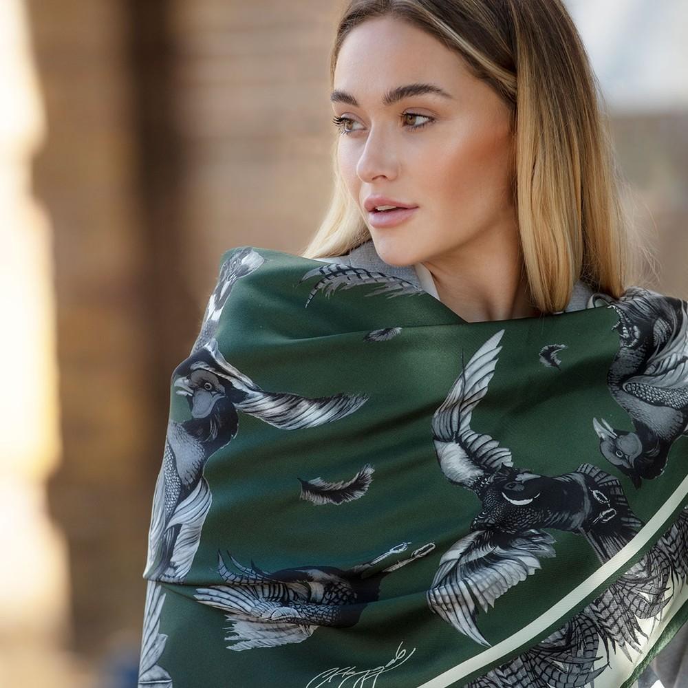 Clare Haggas Turf War Signature Large Silk Scarf Khaki
