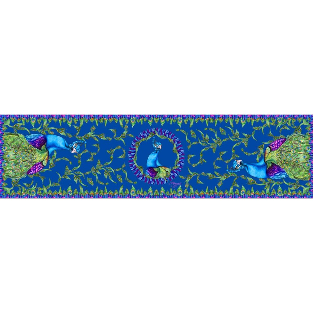 Clare Haggas Pluming Marvellous Peacock Classic Silk Scarf Teal