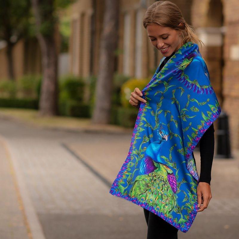 Clare Haggas Pluming Marvellous Peacock Classic Silk Scarf