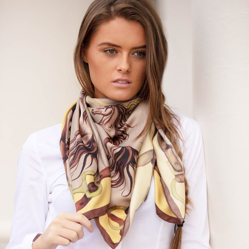 Clare Haggas Hold Your Horses Large Silk Scarf Toffee/Gold