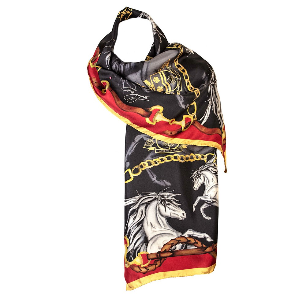 Clare Haggas Hold Your Horses Classic Silk Scarf Liquorish/Gold