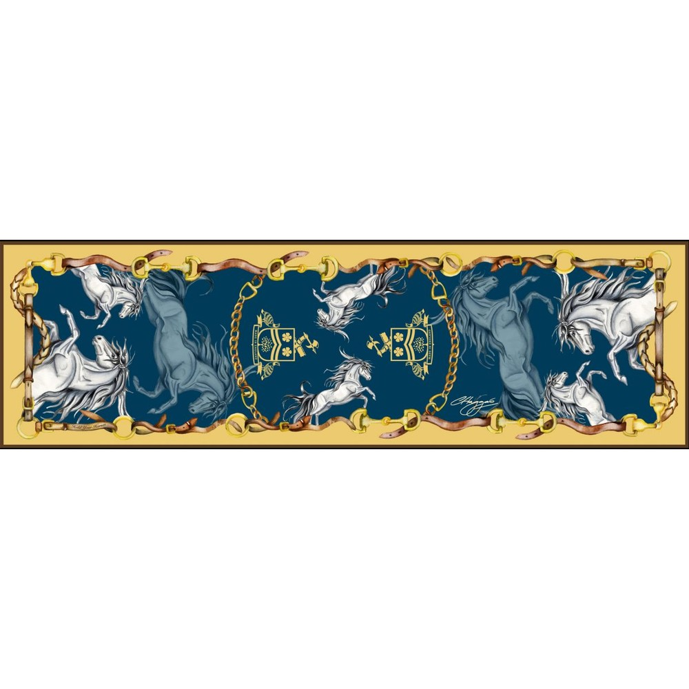 Clare Haggas Hold Your Horses Narrow Silk Scarf Navy/Gold