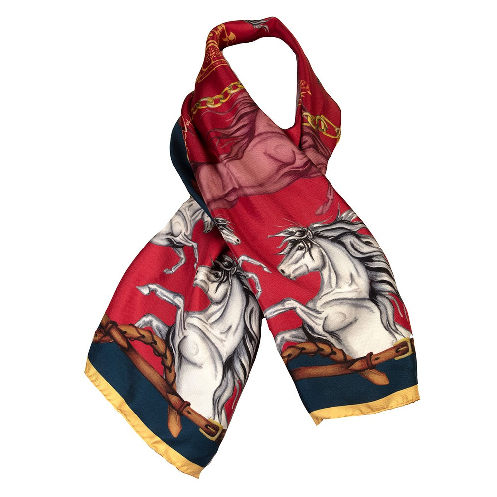 Clare Haggas Hold Your Horses Narrow Silk Scarf
