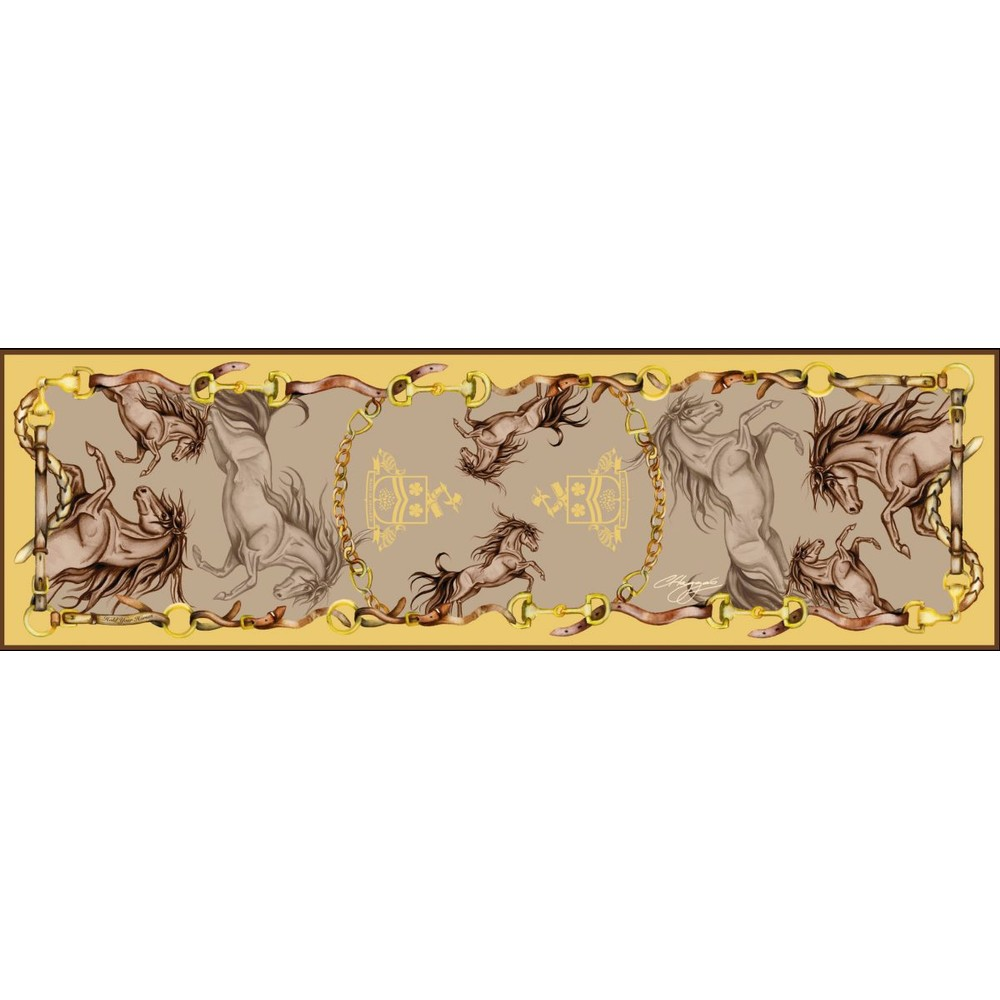 Clare Haggas Hold Your Horses Narrow Silk Scarf Toffee/Gold