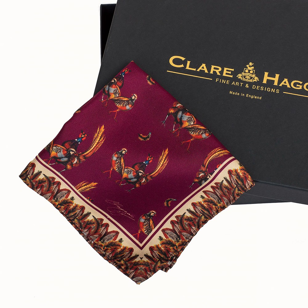 Clare Haggas Turf War Silk Pocket Square