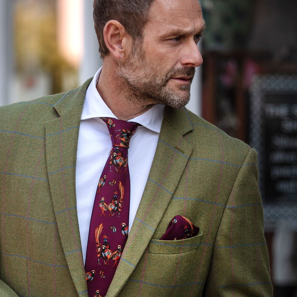 Clare Haggas Turf War Silk Pocket Square Mulberry