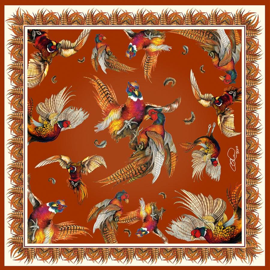 Clare Haggas Turf War Signature Silk Pocket Square Russet