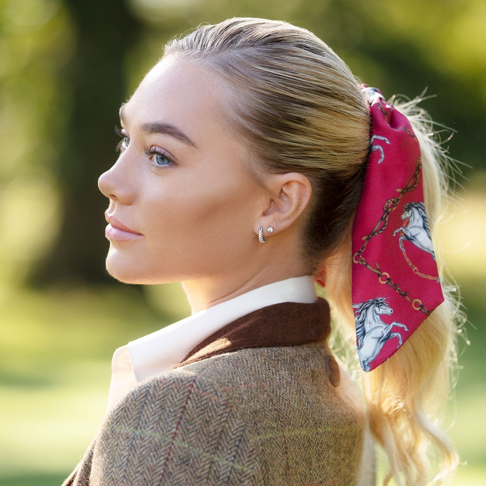 Clare Haggas Hold Your Horses Silk Scrunchie - Medium Tail Red