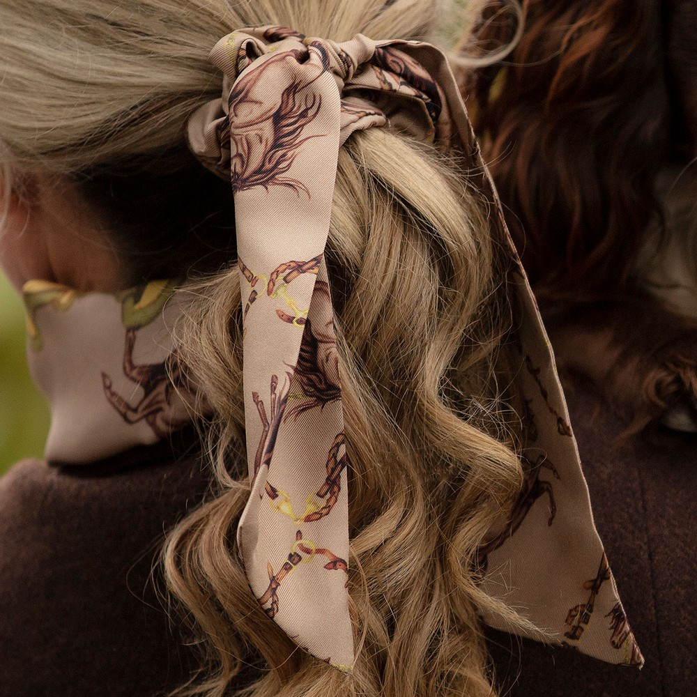 Clare Haggas Hold Your Horses Silk Scrunchie Toffee