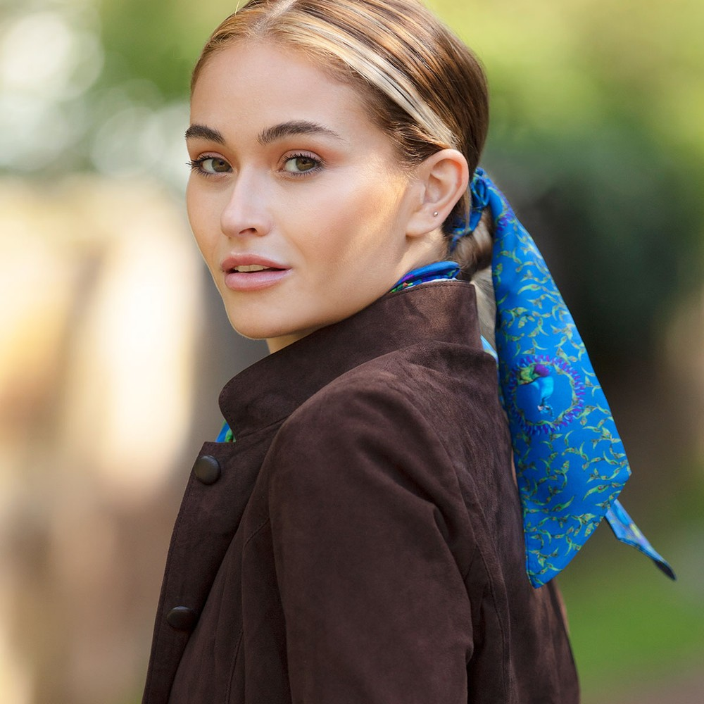Clare Haggas Peacock Silk Scrunchie Teal