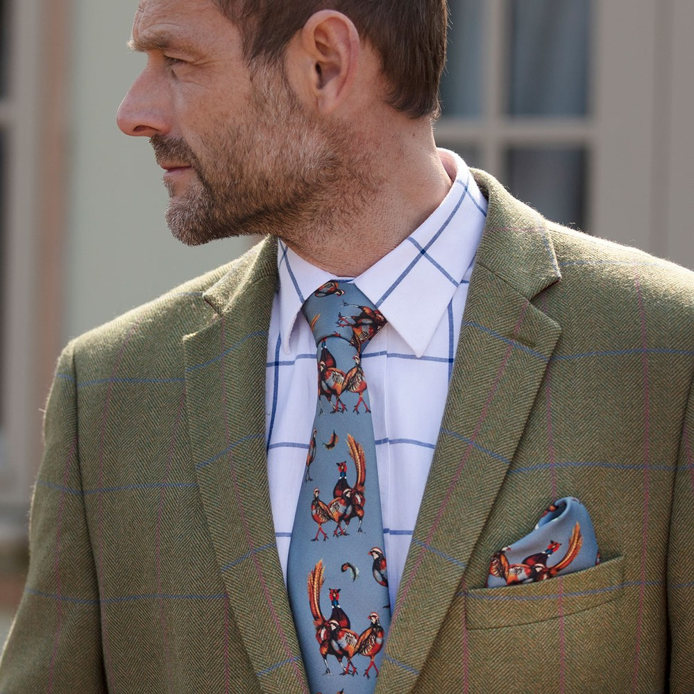 Clare Haggas Odd One Out Silk Pocket Square Pigeon