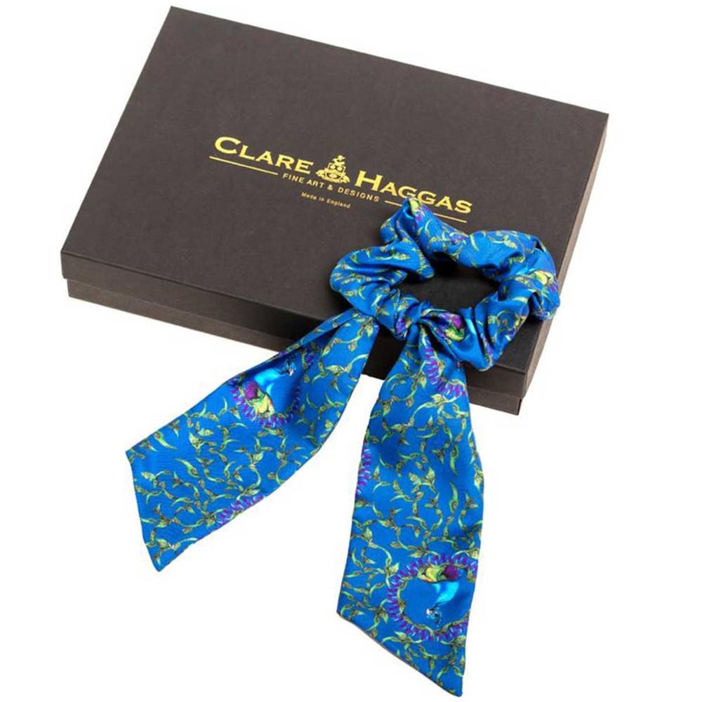 Clare Haggas Peacock Silk Scrunchie